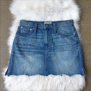 Madewell Denim Mini Skirt Raw Fray Hem A Line Jean